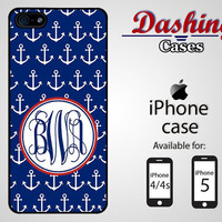 Personalized iPhone case for iPhone 4 & 4s and 5 - navy blue anchor monogram case - 017