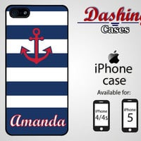 Personalized iPhone case for iPhone 4 & 4s and 5 - navy blue stripes and red anchor name case - 014