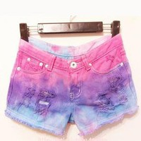 wwwwbkyteautycall — Dyed denim shorts