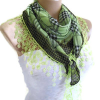 cotton scarf, Necklace scarves, Traditional Turkish-style, Headband, scarf,  Black and Green , fashion 2013