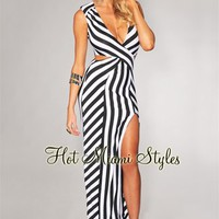 Ivory Black Stripes Slit Front Maxi Dress
