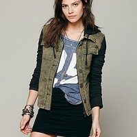 Free People Knit Hooded Twill Jacket