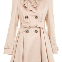 Beige Frill Front Mac - View All  - New In  - Miss Selfridge