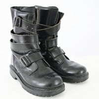 vintage 90s leather grunge PUNK strap COMBAT military boots size 7 8