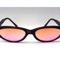 Tortoise Shell Cat Eye Sunglasses with Pink Peach Amber Ombre Lenses