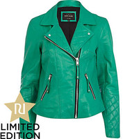 Green leather quilted panel biker jacket