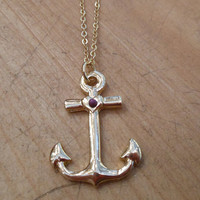 Shiny Gold Anchor Necklace | Candy's Cottage
