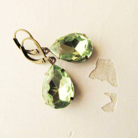 Peridot Earrings, Estate Style Dangle Vintage Earrings, weddings Jewelry, Green Rhinestone Bridesmaids Gift FREE SHIPPING