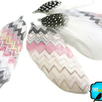 5 Pieces - PASTEL ZIG ZAG Print Goose Nagoire Feather