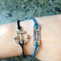 Refuse to Sink Anchor Bracelet Set- Choose Your Colors- Hand Stamped Aluminum Charm Bracelet, Pewter Anchor Charm Bracelet