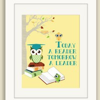 "Classroom Poster, Classroom Art Wall Decor ""Today a Reader, Tomorrow a Leader"" Reading Books Educational Classroom Decor"