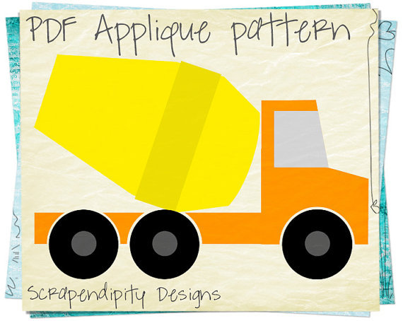 Cement Truck Applique Pattern From Scrapendipitydesigns