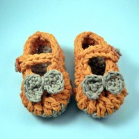 Crochet Baby Booties, orange, mary jane style | bystephaniesmith - Children&#x27;s on ArtFire
