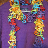 Rainbow Colors  - 50 inch Summer Weight Ruffle Scarf