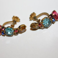 Vintage Earrings Pastel Rhinestone 1950s Jewelry