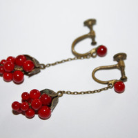 Art Deco Dangle Earrings Cherry Drop Cluster 1920s Jewelry