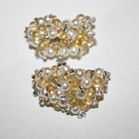 Vintage  Earrings Pearl Funky  Tacky  Statement Runway 1970s  Jewelry