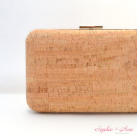 The Mia Minaudiere in Cork & Azalea Peau de Soie - Oversized Clutch