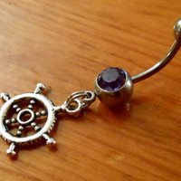 Belly button ring  Ships Wheel Belly Button Ring by ChelseaJewels