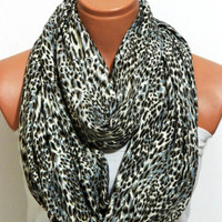 Leopard pattern,infinity scarves,Gray, Black, White,Fabric infinity scarf .bandana,headband,authentic, romantic,