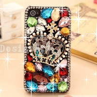 iphone 5 case, iphone 4s case, iphone case, colorful gems iphone 4 covers, bling crown iphone 5 case