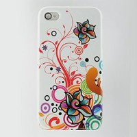 Apple iPhone 4G Crystal Rubberized Case - White with Autumn Flower Design