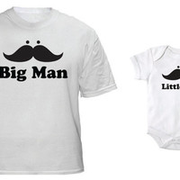 Big Man LIttle Man Matching Tshirt and Onesuit Father's Day for Dad and Baby
