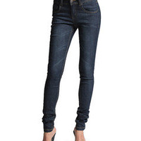 MOGAN Mid-High Waist Washed SKINNY JEANS Basic Womens Stretch Denim Silm Pants