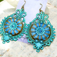 Big earrings Blue green bohemian earrings emerald peacock jewel tone gypsy jewelry