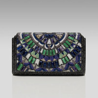 Judith Leiber Houston Semiprecious & Crystal Beaded Clutch