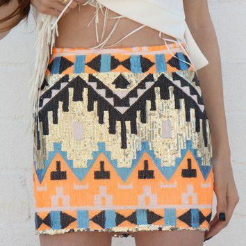 Neon Orange Sequin Aztec Skirt