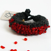 Crochet Fiber Bracelet, Textile Jewelry, Gray Beaded Bangle