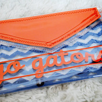 Go Gators Geometric Laser Cut, Transparent Envelope Clutch