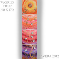 Vertical Large Abstract Painting World tree of life 64x16 KSAVERA pink dandelion sunset sunrise Huge lollipop art MADE to ORDER
