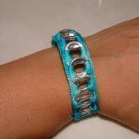 ReCycladelic Pop Top Bracelet Caribbean Blue by lanmom on Zibbet