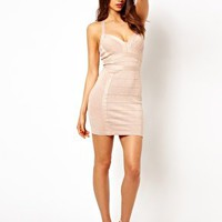 Lipsy Glitter Bandage Bodycon Dress with Plunge Neck at asos.com