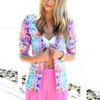 Multi Color Paradise Floral Print Blazer with Open Front