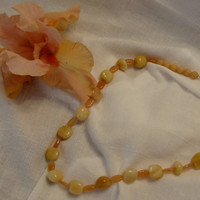 Light Peach Gemstone Necklace by PattysDreamDesigns on Etsy