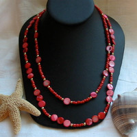 Coral Necklace with Two Strands by PattysDreamDesigns on Etsy