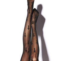 Cross Print Tights