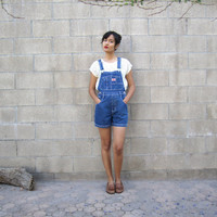 vintage denim overall shorts/ blue jean 90s by MILKTEETHS on Etsy
