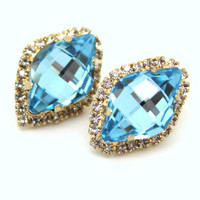 Rhinestone stud Aqua Blue vintage style earring,bridal jewelry - 14k 1 micron Thick plated gold post earrings real swarovski rhinestones