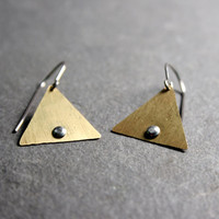 Triangle Earrings - Riveted Gold Brass Triangle Earrings
