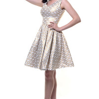 SALE! QUEEN OF HEARTZ 1950's Style Ivory & Gold Metallic Brenda Swing Dress - Unique Vintage - Prom dresses, retro dresses, retro swimsuits.