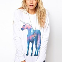 ASOS Sweatshirt with Shiny Unicorn at asos.com
