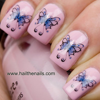 Blue Butterfly Nail Art  Water Transfers/Decals