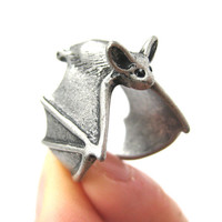 3D Bat Animal Wrap Adjustable Ring in Silver | Animal Jewelry