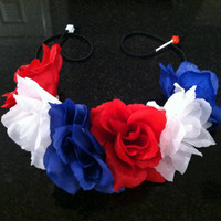 Red, White & Blue Flower Headband, Flower Crown, Flower Halo, Festival Wear, EDC, Coachella, Ezoo,Ultra Music Festival, Rave