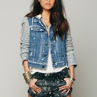 Free People Womens Knit Hooded Denim Jacket -