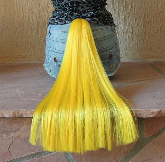 Yellow Wig Costume Pony Tail 9